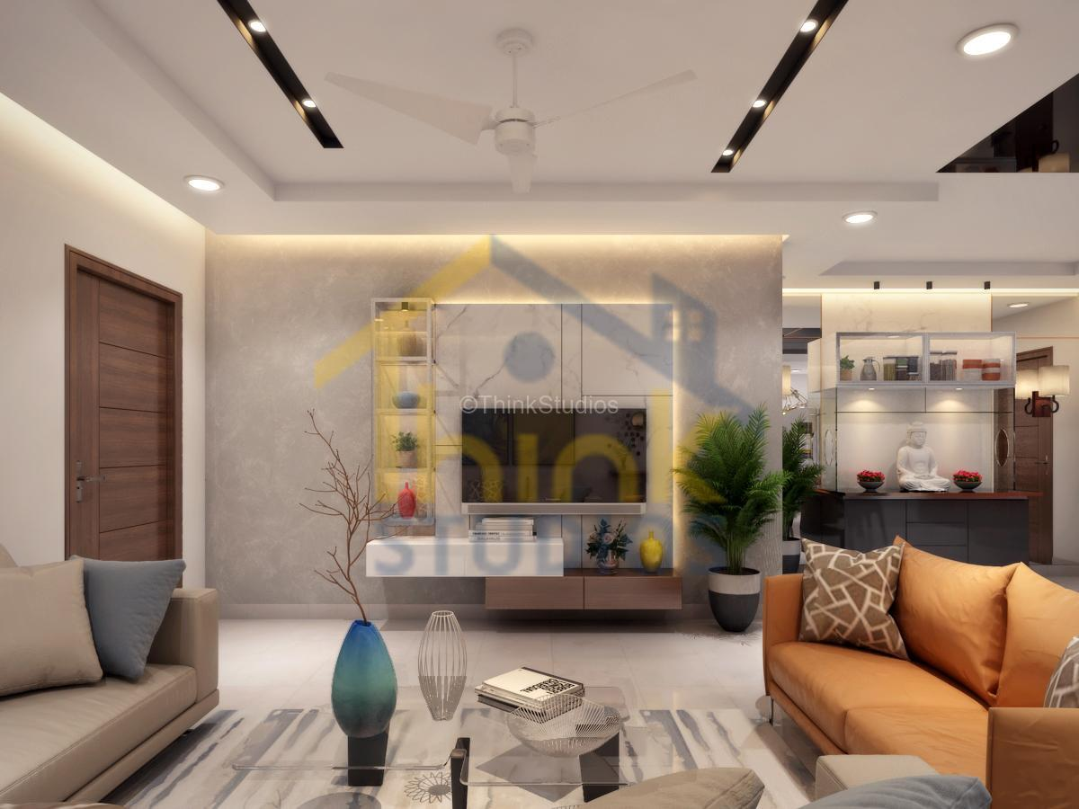 Rajapushpa Atria_interior design_Draving room tv