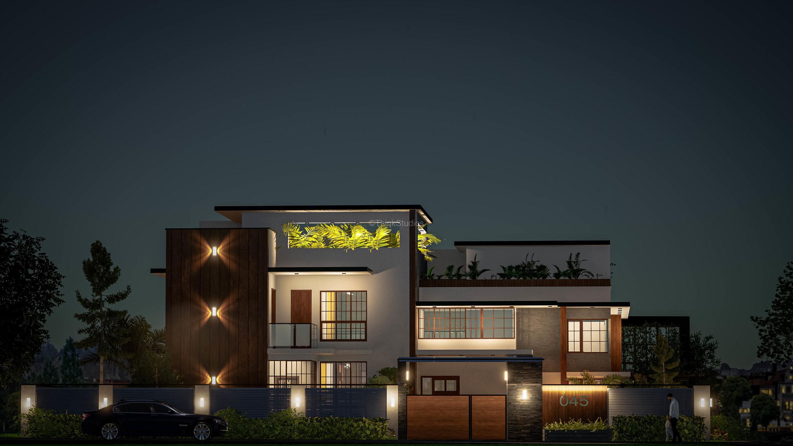 Architecture Design and Interior Design_Shuja Retreat_Vishakhapatnam_HYDERABAD_Facade Night_000